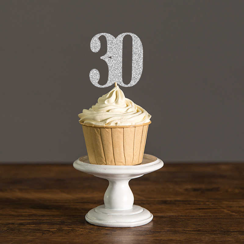 Thirty Birthday Decorations30th Cupcake Toppers Food PicksAnniversary Party Decor Black And Gold