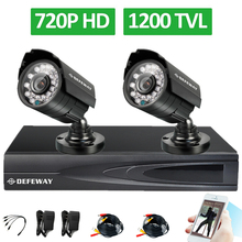 Defeway HD CCTV System 4CH 1080P HDMI Output 720P DVR 2PCS 1200TVL Outdoor Night Vision IR Security Camera Home Surveillance Kit