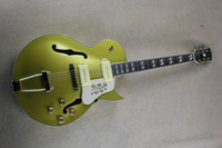 Free shipping Top Quality new style F Hole half hollow body P90 pick up gold top jazz electric Guitar in stock