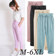 ฤดูร้อน Harem กางเกงสตรีสูงเอวหลวมตรงเก้ากางเกงสตรีกางเกงขนาดใหญ่ 6XL OL กางเกงสตรีกางเกง