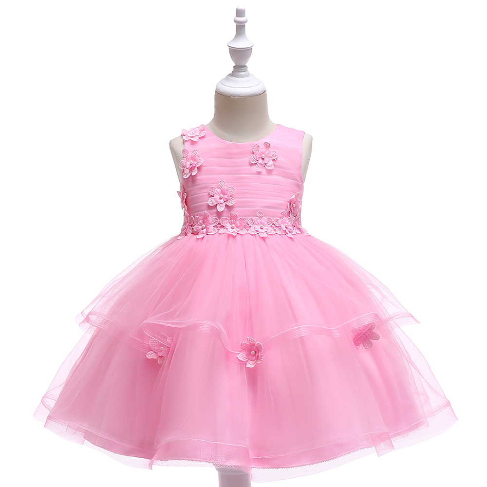 Girl's 4-8 Years O-Neck Sleeveless Layered Mesh Embroidery Princess Party Dresses Children Day Stage Performance Summer Dresses