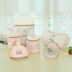 6 unids/set bolsa de lavado ropa cuidado protección plegable filtro de red ropa interior sujetador calcetines ropa interior lavadora ropa