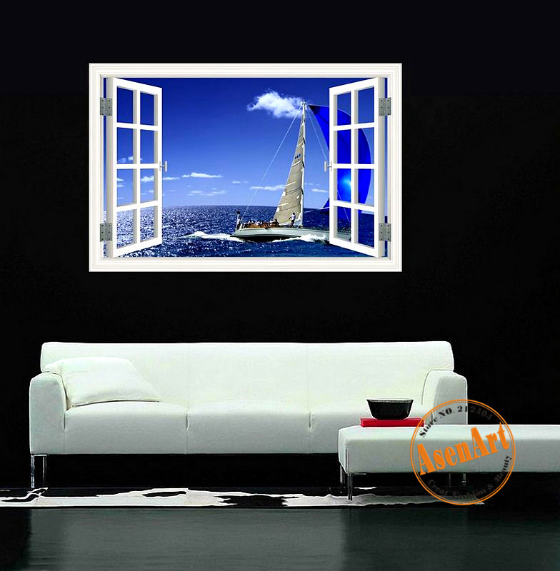 3d window view sailing boat on the sea stickers high for Quality home decor