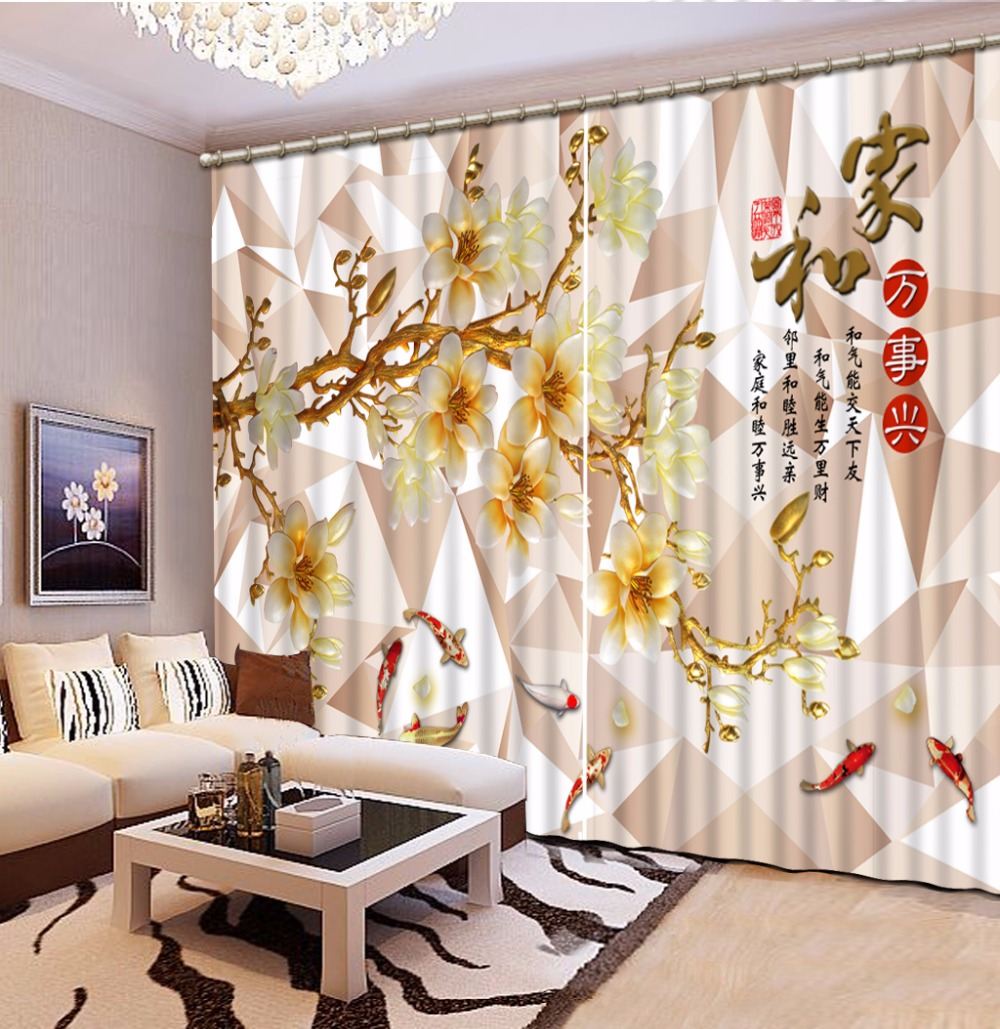 Customize 3d Curtains For Living Room Carp Flowers Soundproof Curtains  Photo 3d Blackout Curtains For The Bedroom