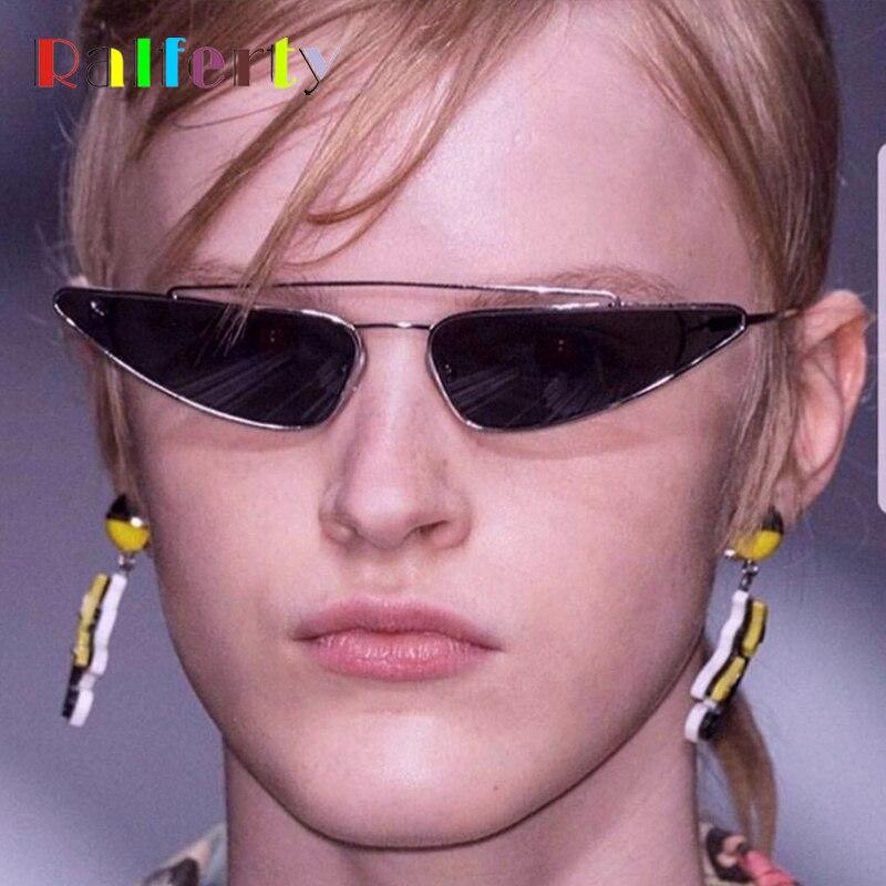 Ralferty Small Triangle Sunglasses Women Double Bridge Cat Eye Sunglass Vintage Retro Sun Glasses UV400 Eyewear 2018 New F98301