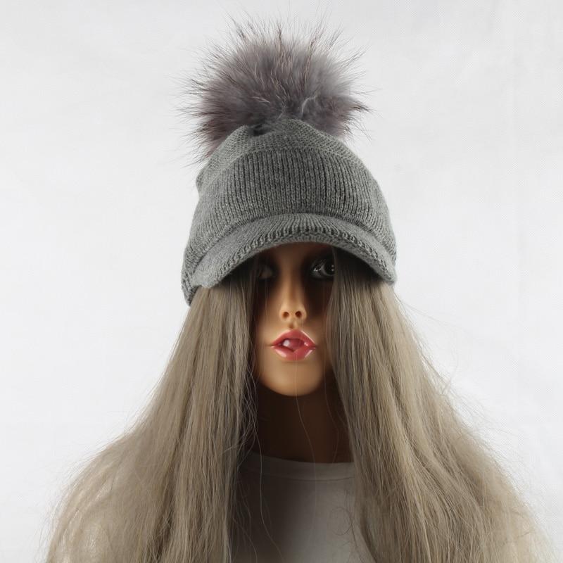 FURANDOWN 17 New Real Fur Pom pom Cap For Women Spring Autumn Baseball Cap With Raccoon Fur pompoms Brand Snapback Caps 9