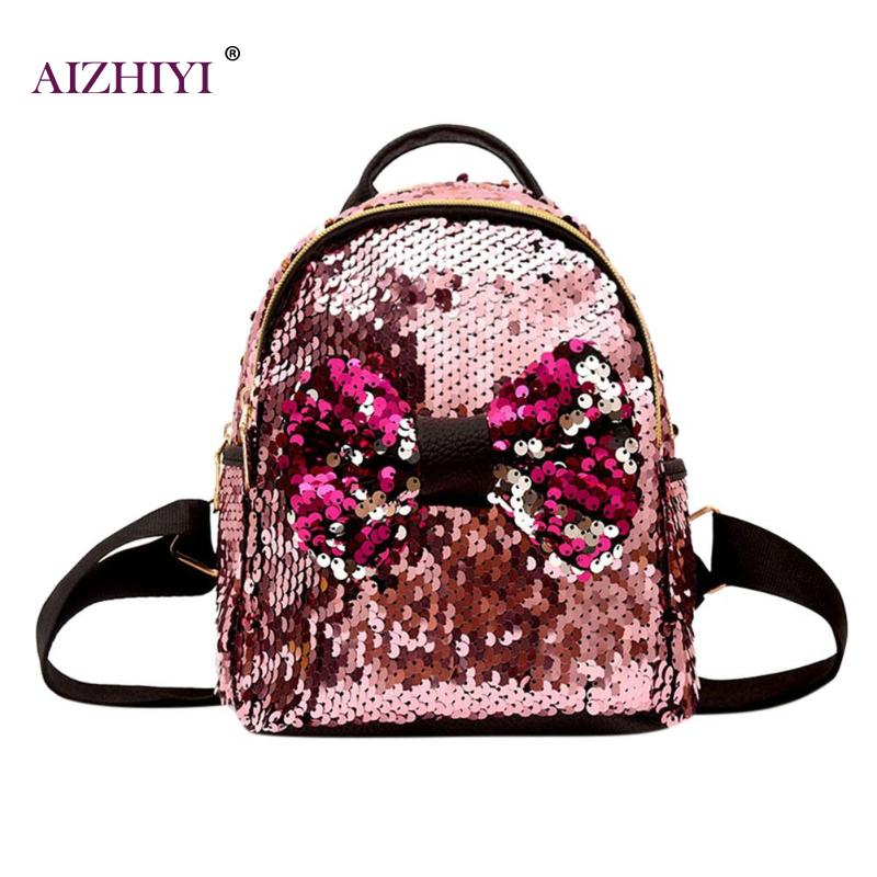Mini Sequins Backpacks Bowknot Women Girls Zipper Travel Casual Shining  Party Shoulder Bags Features: The fashion version of the type:concise but  not simple ...