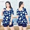 2017 Floral Print Plus Size Swimwear Women Boxer Tankinis Sets Bathing Suit Two Pieces Dress Swimsuit