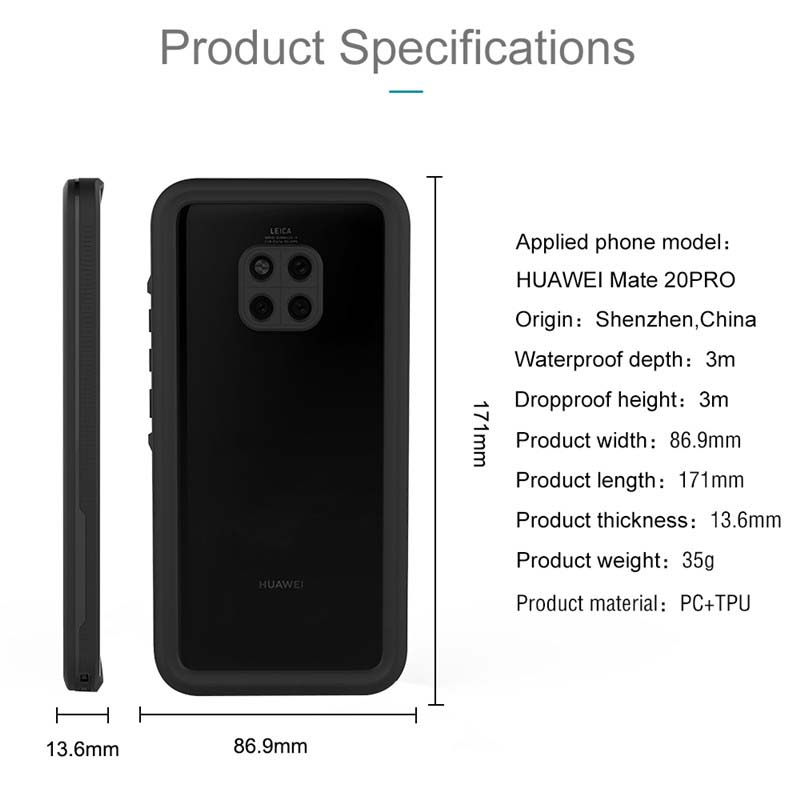 Luxury 360 Protect Water Proof Clear Back Super Front Cover For Huawei Mate20Pro Coque Diving Underwater Waterproof Case KS0166 in Holsters Clips from Cellphones Telecommunications