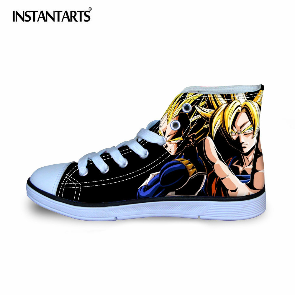 INSTANTARTS Fashion Anime Dragon Ball Z Print Children Canvas Shoes Cool Super Saiyan Son Goku Flat Shoes for Boys Kids Sneakers худи print bar electro dragon