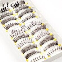 LCBOX 10Pair/ Lot Black 100% Human Hair Natural Fake False Eyelash Soft Long Makeup Eye Lash Extension tools