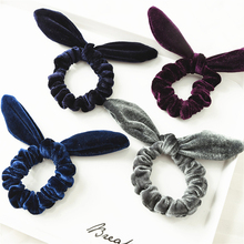 1 pcs Good Quality Women Bunny Ear Velvet Scrunchies Knot Bow Elastic Hair Band Rabbit Ponytail Holder Tie