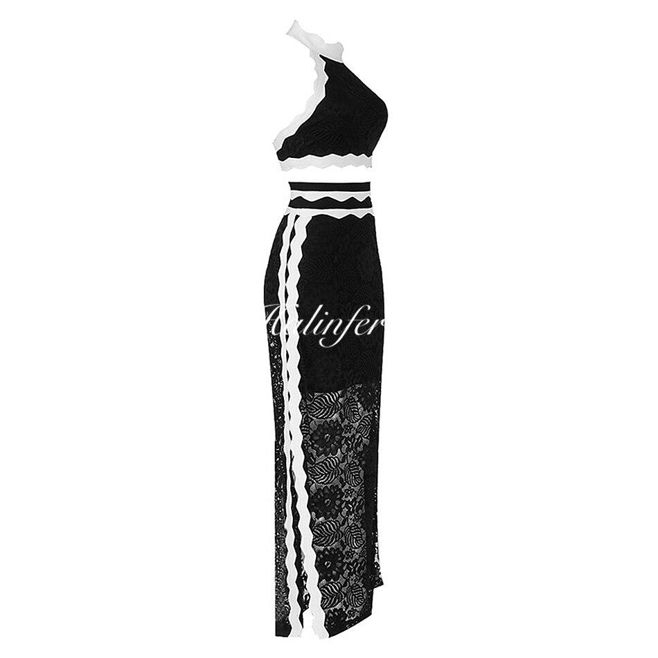 Party 2 Robes Noir Halinfer Pièce Celebrity New Noires 2018 Lace Robe Summer Moulante Femmes Halter Neck Sexy Bandage WRSwvxOZq