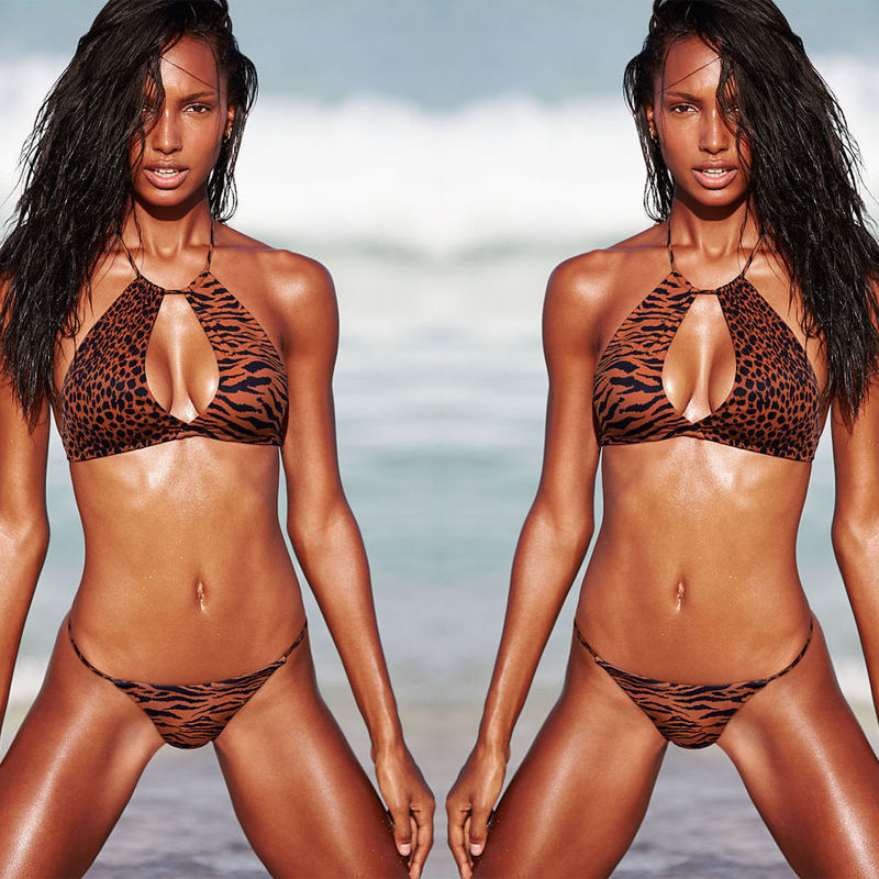 New Sexy Womens Gril Leopard Print Swimsuit Bikini Set Push up Padded Bra Swimwear