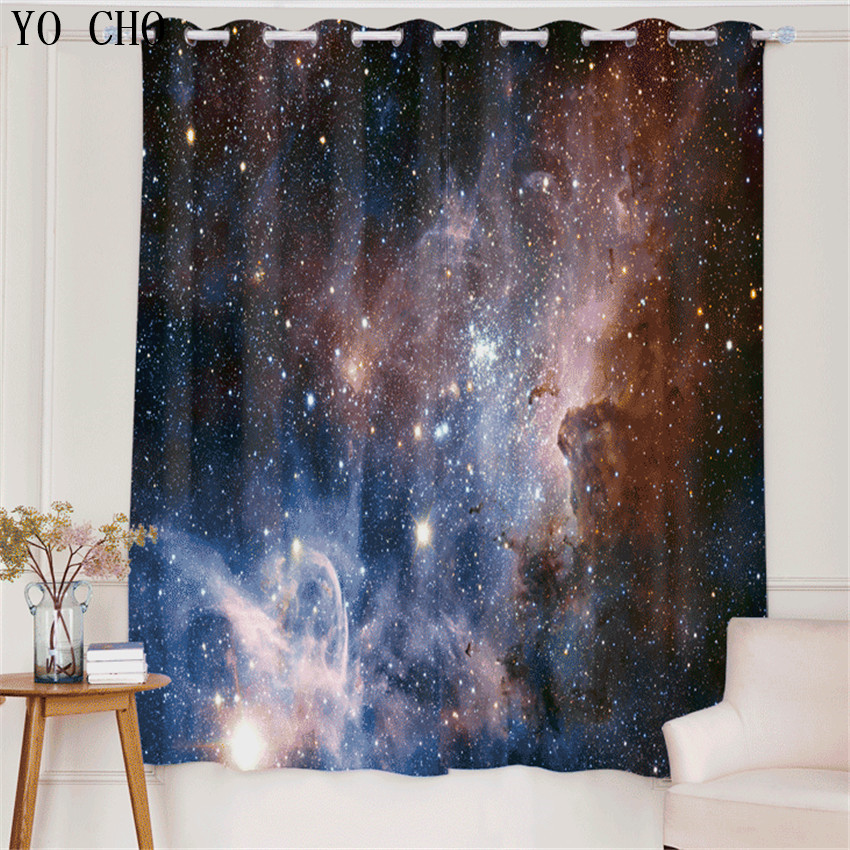 YO CHO Galaxy Map Simple Geometric Pattern Curtains For Bedroom Living Room  Bedroom Blackout Curtains For