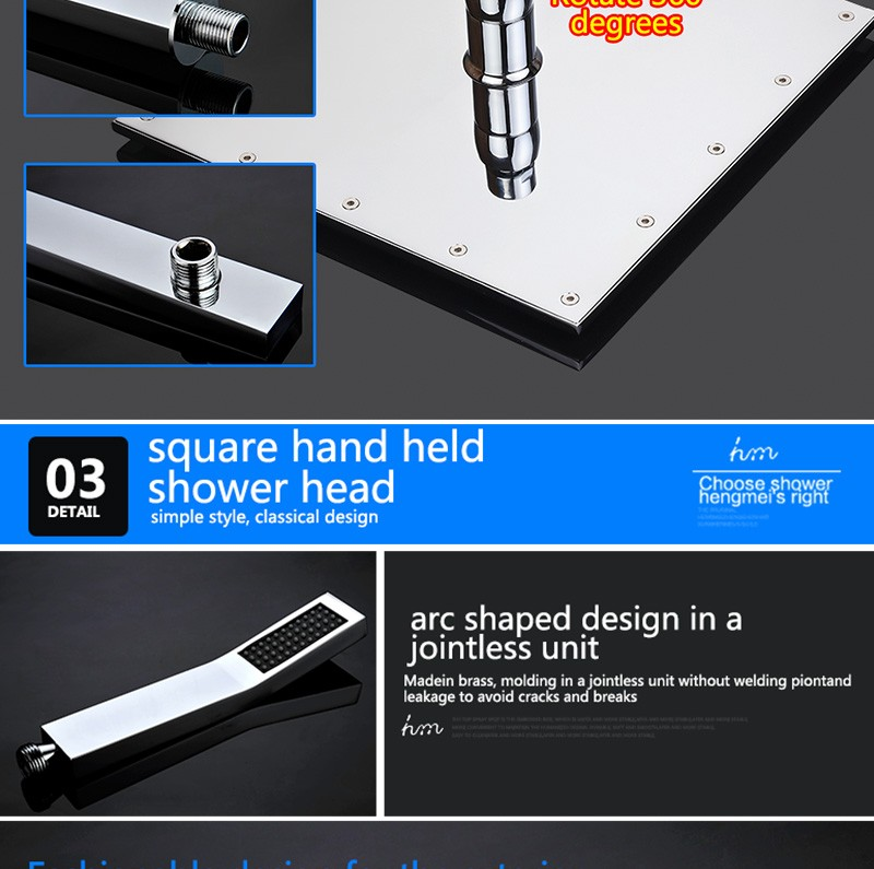 LED Shower Mixer Set Thermostat Faucet Shower Shower Head Powered by Water Square Saving Water Chromed Spout (22)