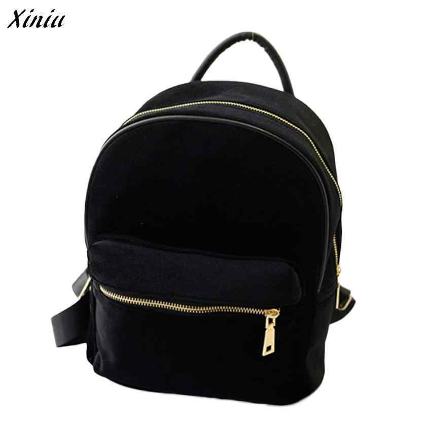 f7e2c7389754 Detail Feedback Questions about Xiniu Backpack Women Solid Color 24 20 11cm Gold  Velvet Small Rucksack Back School Bag Sac A Dos mochila 0 on Aliexpress.com  ...