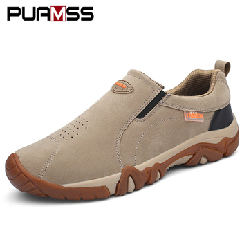 2019New High Quality Brand Men Shoes Genuine Leather Loafers Breathable Spring Autumn Casual Shoes Outdoor Non Slip Men Sneakers