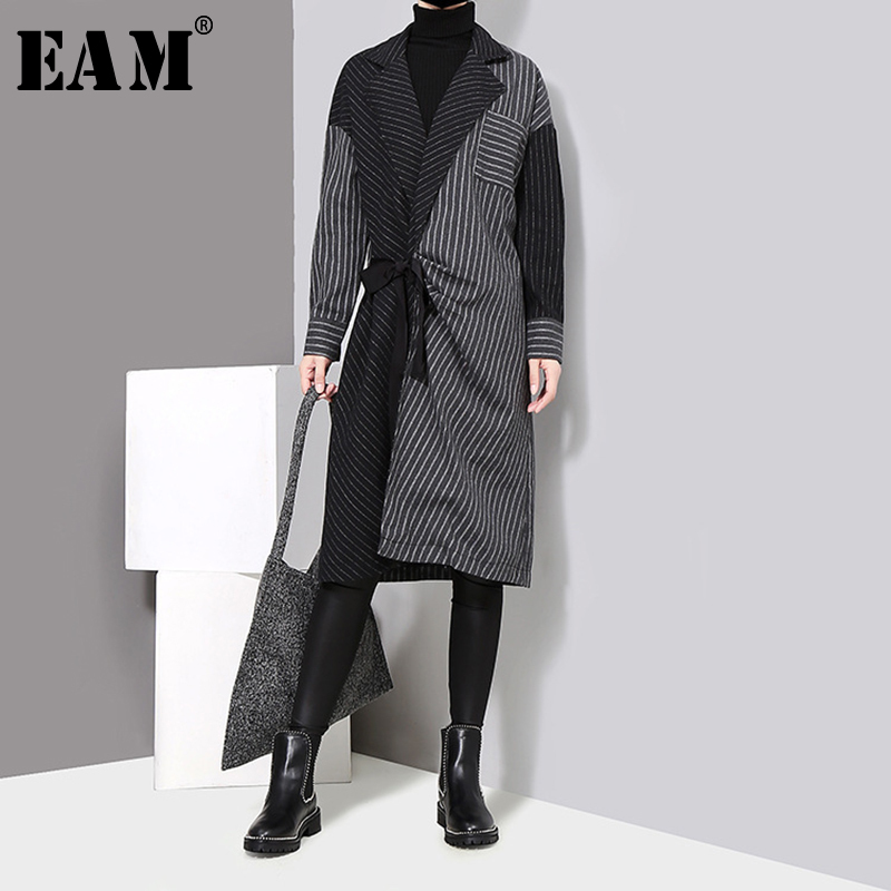[EAM] 2019 New Spring Winter Lapel Long Sleeve Solid Color Striped Split Joint Loose Big Size Dress Women Fashion Tide JD394