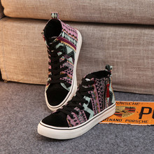 Spring/Autumn Women Casual Shoes Women Breathable Black High-top Lace-up Canvas Shoes Espadrilles Fashion Trekking Zapatos Mujer