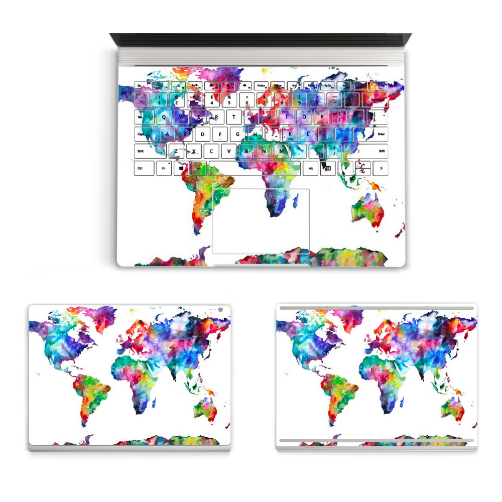 2017 Hot Laptop World Continent Map Sticker For Micro Surface Book Top Bottom Vinyl Decal+Keyboard Sticker Skin Logo Cut Out colorful laptop sticker decal skins for macbook 11 13 15 17 inch sticker for mac book rainbow logo free shipping new arrival