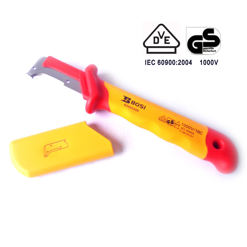free shipping BOSI VDE eletrician steel coaxial cable protected stripper wire cutter knife tools 1000v protected цена и фото