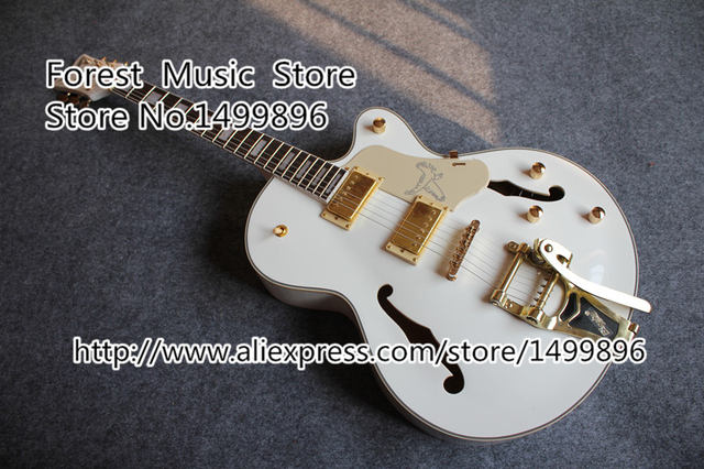 Cheap Wholesale & Retail White Gre. Electric Jazz Guitars With Golden Hardware From China Factory
