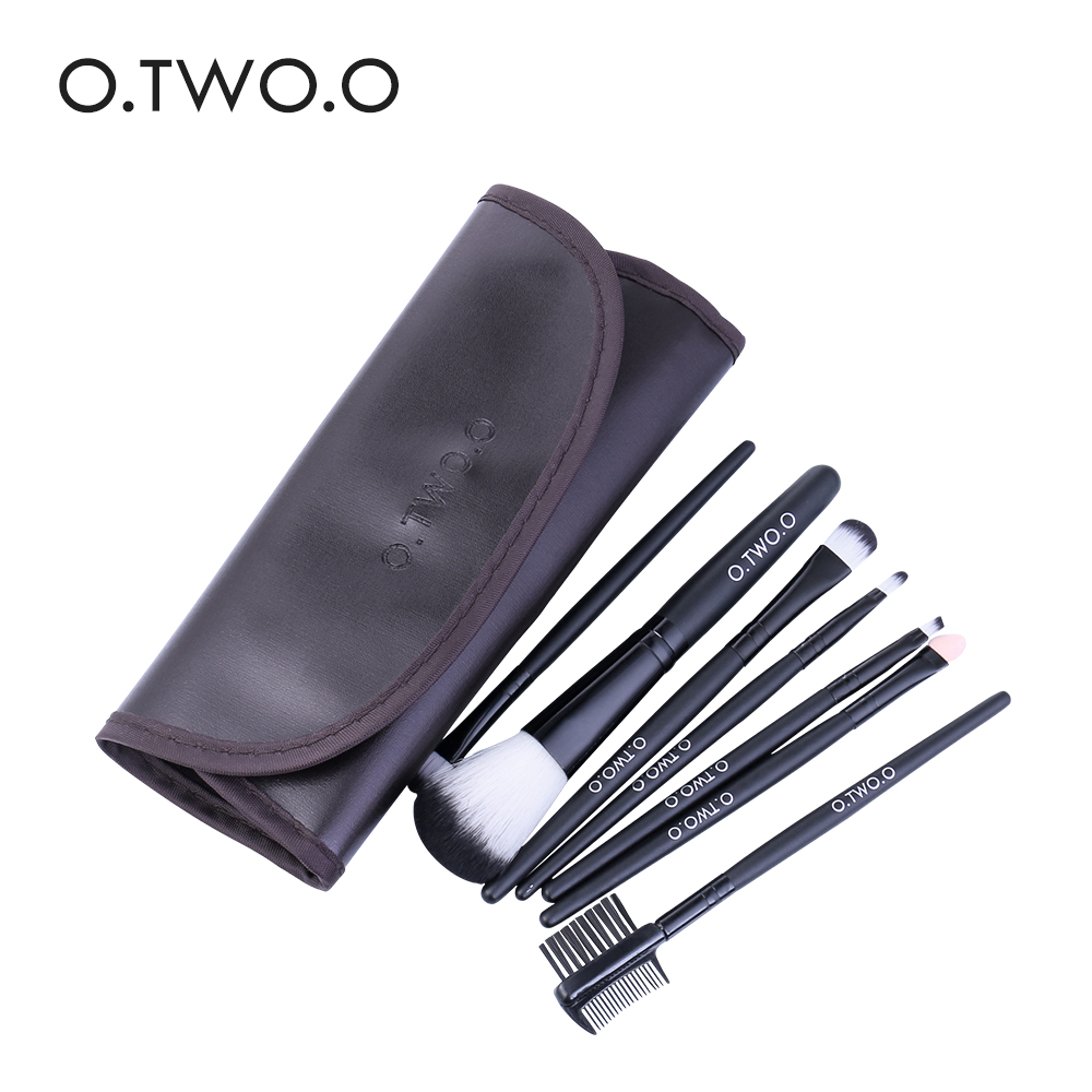 O.TWO.O Makeup Brushes Set 7pcs/lot Soft Synthetic Hair Blush Eyeshadow Lips Make Up Brush With Leather Case For Beginner Brush 3