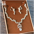 Korean bride jewelry necklace earrings set wedding jewelry accessories wedding jewelry crystal sets of chain chain of clavicle