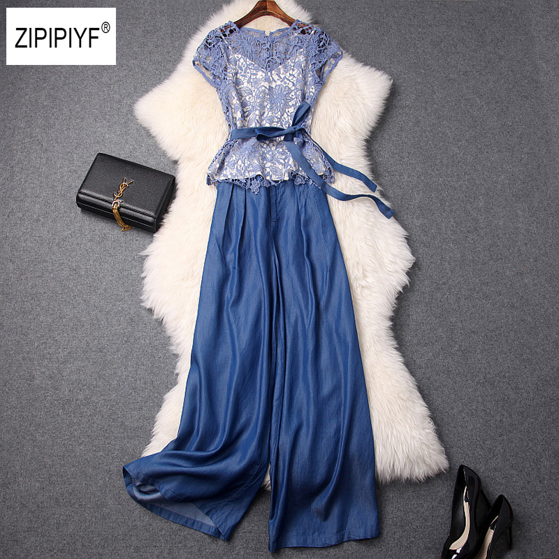 2018 Summer Women Two Piece Set Fashion Belt Outfits Blue Hollow out Lace Short Sleeve Top and Denim Wide Leg Pants Suit B1206 cropped wide sleeve top