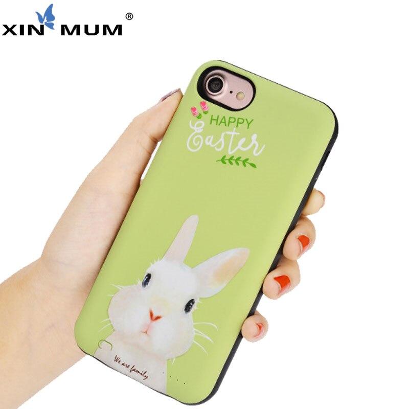 XIN-MUM Cartoon mignon lapin pingouin batterie externe étui pour iPhone 7 6 6 s chargeur batterie couverture de charge pour iPhone 6 6 S Plus 7plus