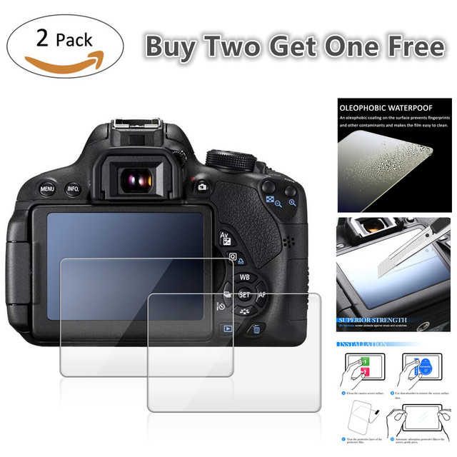 2x 9H Tempered Glass LCD Screen Protector for Canon EOS 2000D T7 T100 3000D 1500D 5D Mark IV III 4 3 5Ds R / 77D 1DX Mark II 2