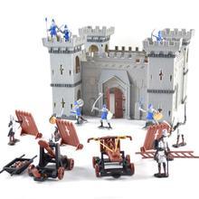중세 성 군인 모델 조립 된 빌딩 블록 전쟁 군사 기사 플라스틱 액션 피규어 소년을위한 장난감 diy 장난감