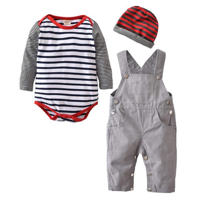 50c9d0227b8de placeholder 2018 vente chaude bébé garçon vêtements ensemble enfant  salopette + bébé barboteuse + casquette 3 pièces