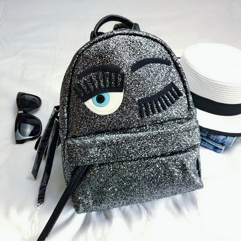 Glitter Blink Eyes Women Sequins Backpacks Fashion Brand Leather Female Backpack Sliver Lady Shoulder School bag Girls Schoolbag zooler women s backpack eyes sequined designer black cartoon eyes backpacks travel bag cute shell backpacks for teenager girls