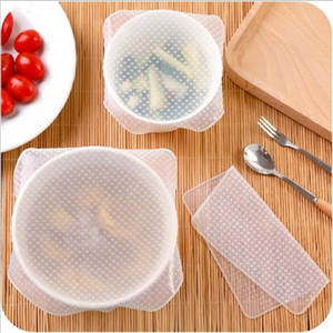 FULL&WIN 4 pcs reusable silicone bowl food sealed cover