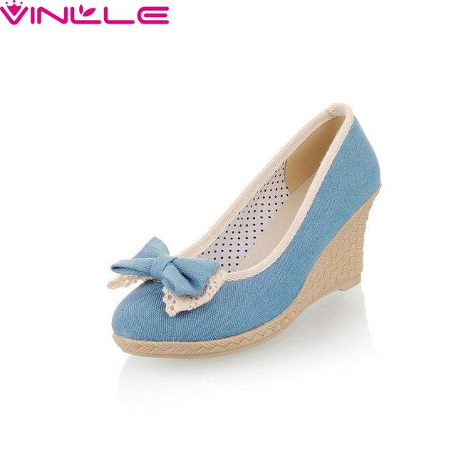 VINLLE Slip On Round Toe Miss Shoes,Wedge High Heel Denim Bow Tie Pastoral Style New Spring Autumn Women Pumps Size 34-39 Blue