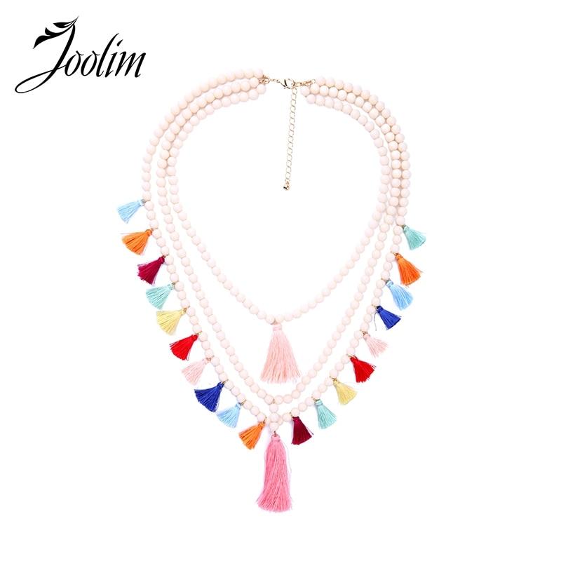 JOOLIM Jewelry Multicolored Tassel Necklace Bead Chain Layered Statement Boho Wholesale