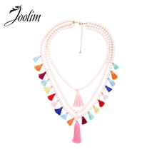 JOOLIM Jewelry Multicolored Tassel Necklace Bead Chain Layered Necklace Statement Boho Jewelry Wholesale все цены
