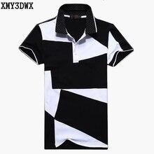 2017 Summer fashion men's black and white stitching cotton short polo-sleeved polo shirt Slim Male Casual POLO shirt 5XL 6XL