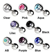Crystal Ear Stud  Gem Ball Cartilage Upper Earring Tragus Helix Bar 16G 4mm Stone Clear AB Barbell Straight Eyebrow Jewelry
