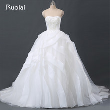 Real Photo Gorgeous Dubai Strapless Ball Gown Wedding Dresses Pearls Tulle Tiered Ruffles Bridal Dresses Vestido de Noiva FW91