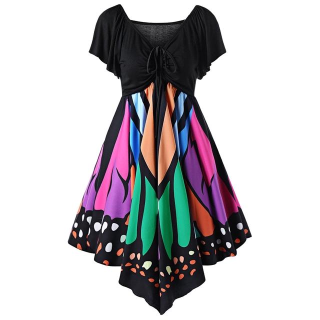 AZULINA Butterfly Shape Women Fashion Dress V Neck Novelty Female Party Dresses Vestido Robe Femme Plus Size 4XL 5XL