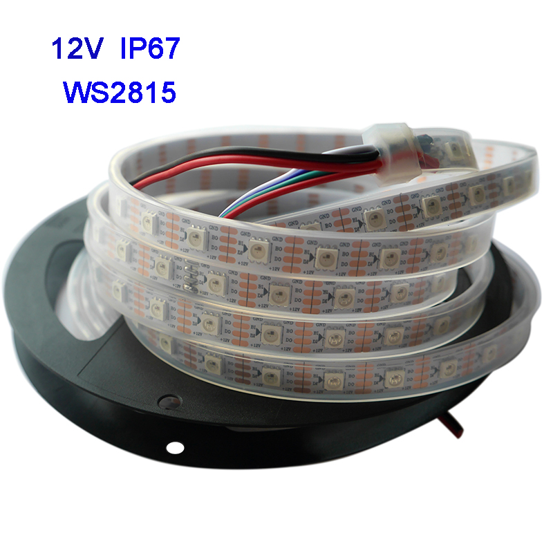 1m/3m/5m WS2815 Pixel Led Strip Light,Addressable Dual-signal Smart,30/60/144 Pixels/leds/m Black/White PCB,IP30/IP65/IP67,DC12V