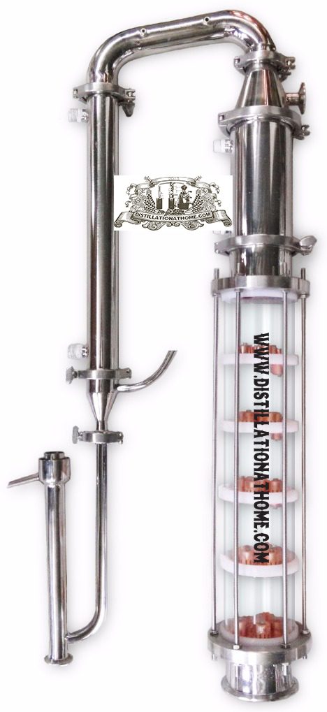 Home Distiller. 4  glass column. 5 copper bubble plates. Quartz glass home distiller 4 stainless column with copper bubble plates