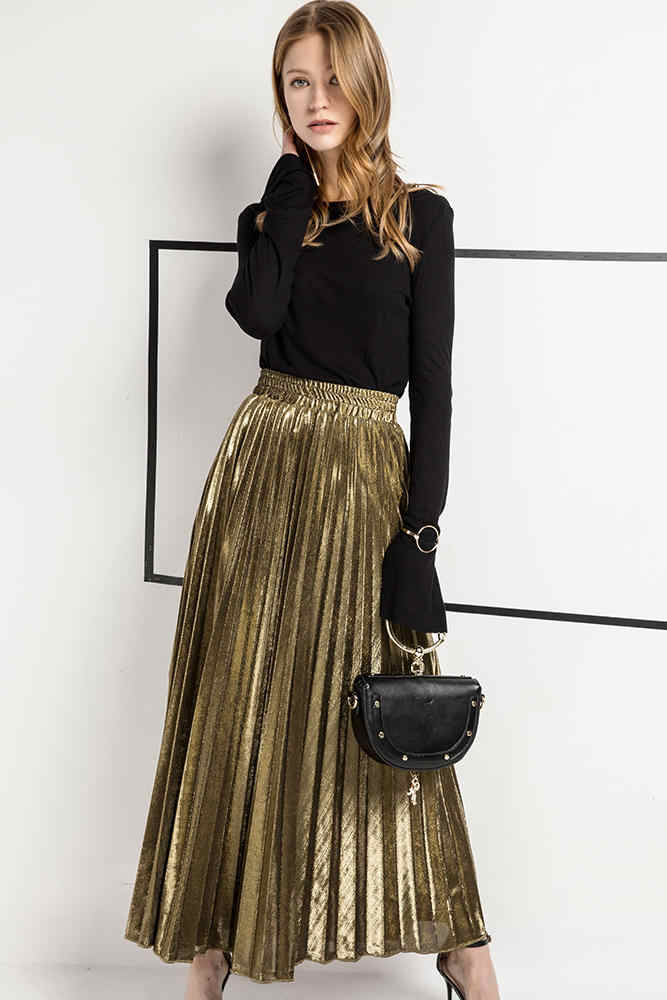 e90cf12a70 ... 2019 Spring New Arrival High Waist Accordion Pleated Skirt Korean Style  Vintage Skirt Faldas Largas Elegantes