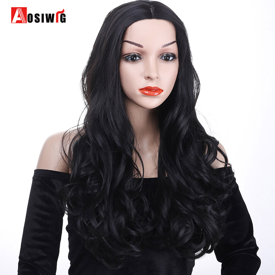 AOSIWIG Long Wavy Wig Synthetic Hair Costumes Party High Temperature Fiber Cosplay Wig For Women