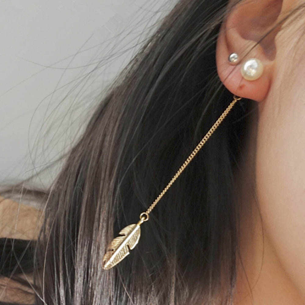 Simulated Pearls Long Tassel Dangle Earrings For Women Leaf Feather Drop  10.8