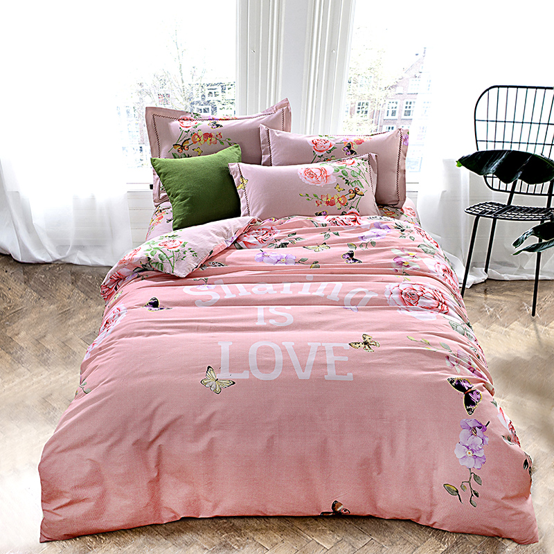 Cotton sanding fabric winter bedding set queen size pink floral butterfly  duvet cover twin double king