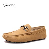 Meixi Casual Slip On Men Moccasins 38 44 Driving Comfortable Soft Handmade Men Loafers M17090101